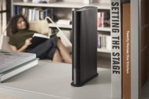Bang and Olufsen 's up to date speaker disappears into your bookshelf